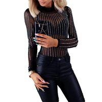Women's Jumpsuits & Rompers Womens Bodysuit Club Sheer Mesh Diamond Long Sleeve Leotard Tops See Through Rhinestone Ladies Bodysuits Playsui