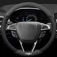 Steering Wheel Covers For 3D Laser Printing Logo Cow Leather Car Cover Fit Ranger Focus Everest Mustang Kuga Escort Escape Mondeo