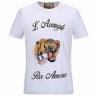 Esticamento Carta Homem Bordado Impresso T-shirt T-shirt T-shirt Tigre Cabeça de Algodão Shortsleeves Slim Fit Estilo Top Masculino Pescoço