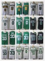 2021 HerrenBostonKeltenThopfback Jersey Larry 33 Bird Kemba 8 Walker Jayson 0 Tatum Basketball Shorts Basketball Jersey schwarz grün