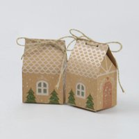 Gift Wrap 10 50PCS Kraft Paper House Shape With Ropes Candy Bags Cookie Packaging Boxes Christmas Tree Pendant Party Decor