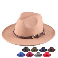 Wide Brim Hats Youth Fedora Women Men Wool Felt Hat European Vintage Jazz Retro Belt Cap