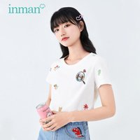 Women's T-Shirt INMAN Summer Lady Round Collar Cute Style Interesting Animal Pattern Embroidery Women Short Sleeve Top