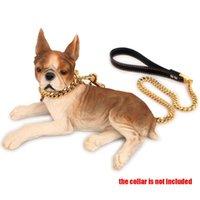 Hoher Qualität Edelstahl Ledergriff 18K vergoldete kubanische schwere Kettenpatch 3Ft für große und mittlere Hunde Hundekragen Leinen