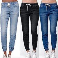 New Casual Jogger Pants Elastic Sexy Skinny Pencil Jeans for Women Leggings Jeans High Waist Women's Denim Drawstring Pants