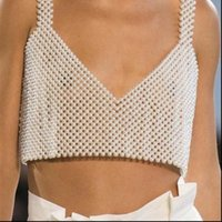 Design Beaded Vest Pearl Beading Women Tanks Camisole Sleeveless Crop Top Onesize Sexy silver Tops Tees