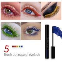 5 Colors Mascara Curl Liquid Eyelashes Stretching Makeup Waterproof Long-lasting Mascaras Color Red Orange Yellow Green Blue 1315
