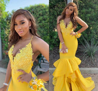 Stunning Yellow South African 2022 Prom Evening Dresses Mermaid Satin Applique Lace Beaded Ruched Backless Bridesmaid Party Cocktail Pageant Dresess