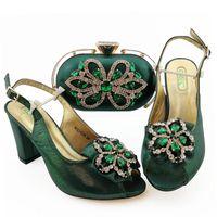 Dress Shoes African and Bags Matching Set con cristallo Italiano 9 cm Signore Tacco alto per la festa QSL026