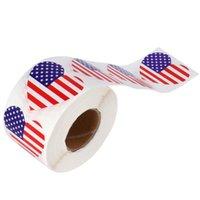 선물 포장 500pcs / 롤 스티커 심장 모양 씰링 스티커 미국 국기 패턴 봉투 장식