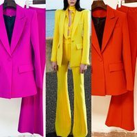 Europe and the United States autumn and winter the latest office lady classic double-breasted blazer +flare pants set two-piece suit