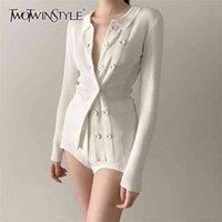 DwoTwinStyle Белые вязаные кардиганы женские V шеи с длинным рукавом один размер тонкий свитер для женщин мода одежда падение 210824