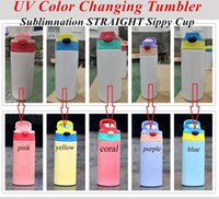 12oz UV Color Changing Tumbler Sublimation STRAIGHT Sippy Cup Baby Bottle with straw lid Portable Stainless Steel Drinking tumbler for kids