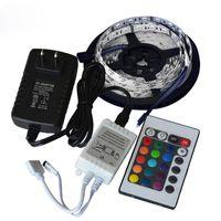 Şeritler Claite 5 M 24 W SMD 3528 300 Su Geçirmez IP65 LED RGB Strip Bant Esnek Farklı Işık 24 Anahtar IR Uzaktan Güç Adaptörü DC12V