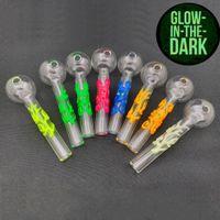Newest design 10cm Glow In The Dark glass Oil pipe Straight Tube Glass oil Burner smoking pipe