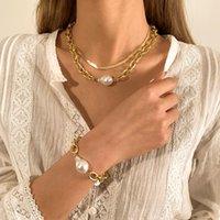 Серьги Ожерелье DEISGN Женщины Ограничение жемчужина Кулон Cuban Link Chain Bracte Set Boho Snake Choker Летние Ювелирные Изделия Наборы