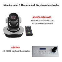 Cámara de videoconferencia de red 2MP 12x / 20x Zoom óptico SDI / USB POE IP PTZ Joystick Controller Conjunto de teclado Kits inalámbricos