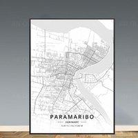 그림 흑백 Paramaribo 수리남 위도 경도 캔버스 아트지도 포스터 미니멀리스트 페인팅