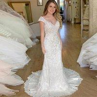 Off the Shoulder Lace Mermaid Wedding Dresses Appliqued Sweep Train Backless Plus Size Bridal Gowns Vestidos De Novia