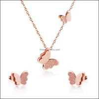 & Jewelry Jewelrygold Sier Rose Gold Necklace Pendant Earrings Sweet Butterfly Jewlery Sets For Women Gift Fahion Clavicle Chain Drop Delive