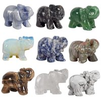 Whosale 2 polegada jade cristal elefante figurinhas artesanato esculpido 100% natural pedra mini estátua animal para decoração chakra cura