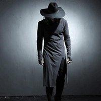Мужчины личности боковой щель нерегулярных с длинным рукавом футболка панк-тройник Мужская ночной клуб хип-хоп одежда певица сценический костюм