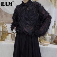 [EAM] 2021 Новый весенний лето полупрозрачный перо стенд воротник полной рукава свободных кисточек кнопки рубашки женщины мода прилив OB396