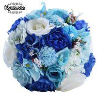 Свадебные цветы Kyunovia Mint Blue Букет Искусственный Шелк Невесты Буре De Casamento Розовые Цветочные Буки Fe57