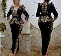 Algerian outfits Karakou Evening Dresses with Peplum Soirée de Mariage Gold Embroirdery Red stone Long Sleeve kaftan prom dress