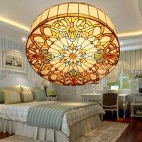 Ceiling Lights European Baroque E27 110-240V Pastoral Light Tiffany Round Glass Lampshade Lamparas De Techo Abajur