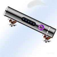 긴 미니 충전을위한 전기 수량 디스플레이와 USB 전자 담배 라이터 더블 아크 라이터 ZC205