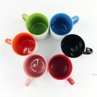 Blank Sublimation Ceramic mug color handle Color inside blank cup by Sublimation INK DIY Transfer Heat Press Print sea shipping DHD6963