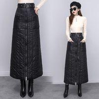 Skirts Cotton Down Skirt Elegant Mid-length Zipper Front Spring And Winter 2021 Bag Hip