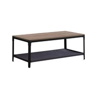 Coffee Table With Pets Bed Industrial 2 Tiers Side Living Room Tables Metal Frame and Storage Shelf Velvet Fabric Cat Dog Cover 100KG Load For Bedroom Rustic Brown