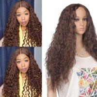 Long Water Wave perucas sintéticas para mulheres negras preto marrom vermelho colorido afro kinky cabelo sintético perucas resistentes ao calor