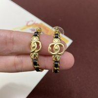 Letter earring classic jewelry girl fashion have stamps Black rope braided double ear studsaccessories luxury with box 041638