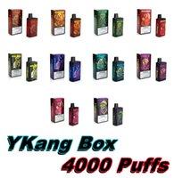 Ykang Box одноразовый Vape Device E Cigarette 4000 Puffs аккумуляторная 550 мАч Vape Battery 10ML POD с 5% Flavr 10 цветов слоеных полос XXL