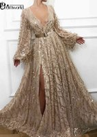 Sexy Slit Gold Evening Dresses 2021 Latest Fashion Sequins Lace Dubai Saudi Arabic Prom Gowns Long Sleeves Formal Party Dress