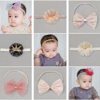 Accesorios para el cabello 10 unids / lot Glitter Crown Deedband Imitation Pearls Ribbon Arques Born Girls Bands Kid Headwrap