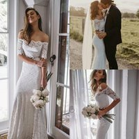 2021 Country Wedding Dresses Off The Shoulder Lace Appliqued Two Pieces Mermaid Dress Custom Made Half Long Sleeve Bridal Gowns Boho