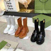 2021 Otoño Invierno Martin Socks Botas Diseñador Double G Female British College Style Wild Fashion Casual Boot Boot Tamaño 35-40