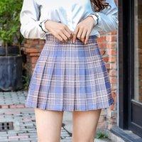 2021 مطوي تنورة قصيرة الإناث الطالب الصيف نمط الكورية عالية الخصر ألف خط الخريف والشتاء زائد حجم منقوش