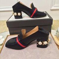 الأزياء اللؤلؤ إمرأة اللباس أحذية بلوك كعب سكوير تو السيدات المتسكعون الحقيقي بلدان جزر المحيط الهادئ