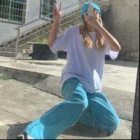 Blue Corduroy Korean Style Fashion Women Pant Plus Size Straight Summer Streetwear Kpop Wide Loose Trousers