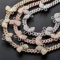 Rose prata cor cz perna cubana anklet 2020 moda mulheres bling gelado cz Chapan Link Chain Rosa Borboleta de Borboleta de Anklet 1027 Q2
