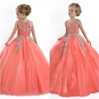 Girl's Dresses O-Neck Girls Pageant Birthday Christmas Wedding Party Events Kids Formal Wear Beaded Sequins Crystal Flower