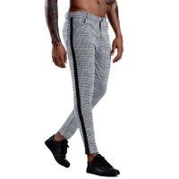 Pantaloni da uomo Plaid Dress Pants Men Chinos Slim Fit Skinny Chino Joggers Streetwear Pantaloni a matita per uomo Pantaloni casual X0721