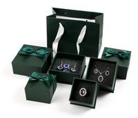 패션 뷰티 쥬얼리 상자 반지에 대 한 포장 귀걸이 귀걸이 파란색 흰색 녹색 귀여운 활 패키지 상자 가방