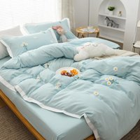 Bedding Sets Web Celebrity Nordic Dai Li Four Pure Color Washing Cotton Bed All Soft Sheets Bag Princess Wind