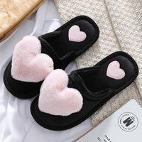 Women Love Heart Cotton Slippers Winter Fur Slides Ladies Home Furry Warm Indoor Shoes Claquette Fourrure Q53D